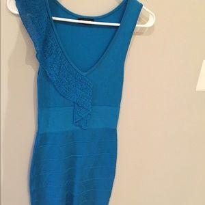 Bebe blue bodycon ruffle dress s